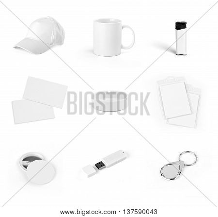 Set of white elements for corporate identity design on a white background