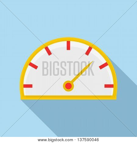 Speedometer icon in flat style on a light blue background