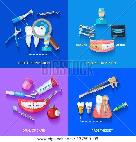 Flat 2x dentist icons set with teeth examination dental treatment care and prosthesis isolated vector illustration