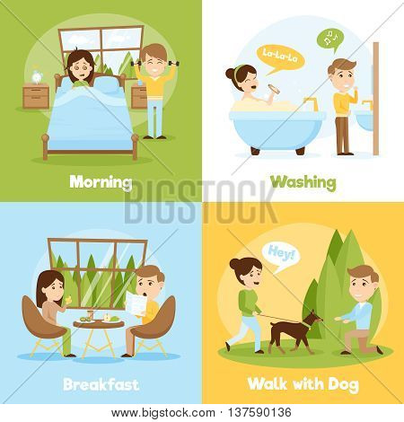 Cartoon style 2x2 compositions of people daily life presenting morning washing breakfast and walking with dog vector illustration