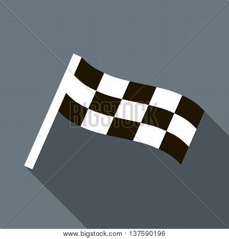 Chequered flag motor icon in flat style on a gray background