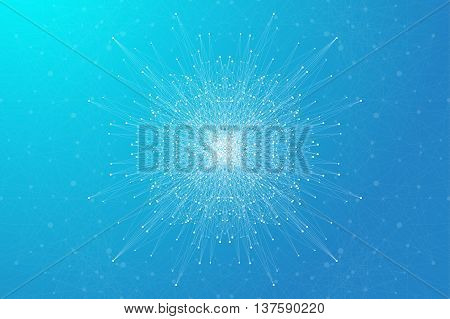 Geometric background molecule and communication. Social network information. Connected line with dots. Big data composition. Perspective visualization, radial graphics. Vector illustration