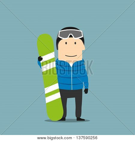 Cartoon smiling snowboarder character in winter ski sportswear, helmet and goggles standing with bright green snowboard in hand. Winter outdoor activity, extreme sports and healthy lifestyle themes design