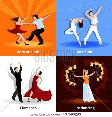 Performing various styles of dancing people 2x2 flat icons set isolated vector illustration