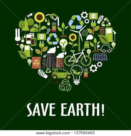 Heart symbol made up of flat eco icons such as green energy, bio fuel and electric cars, recycling and save energy light bulbs with green leaves, trees and flowers, solar panels, wind turbine and bicycle, industrial pollution and radioactive waste