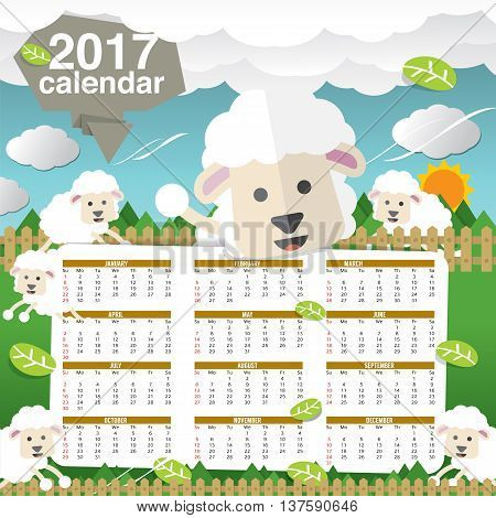2017 Printable Calendar Starts Sunday Cute Sheep Vector Illustration. EPS 10