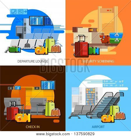 Airport interiors 2x2 flat design concept set of checkin security screening and departure lounge compositions vector illustration