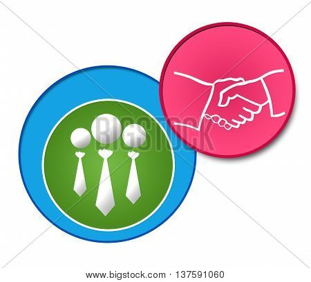 Partnership concept image with related graphics over colorful background.