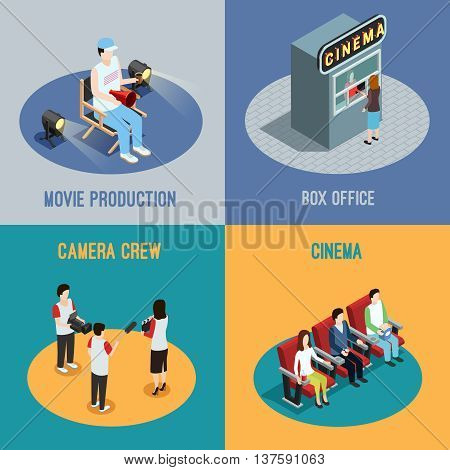 Cinema box office and movie production camera crew 4 isometric icons square poster abstract isolated vector illustration