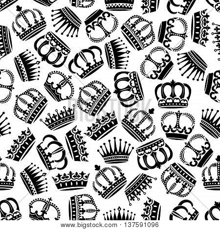 Black and white seamless medieval victorian crowns pattern background for monarchy theme or jewelry concept design with royal headwear ornated by fleur-de-lis and floral ornaments, pearl and diamond inlaying