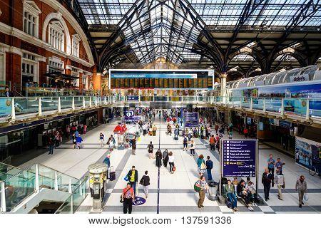 London UK - June 25 2016 - Commuters walk through Liverpool Street Station