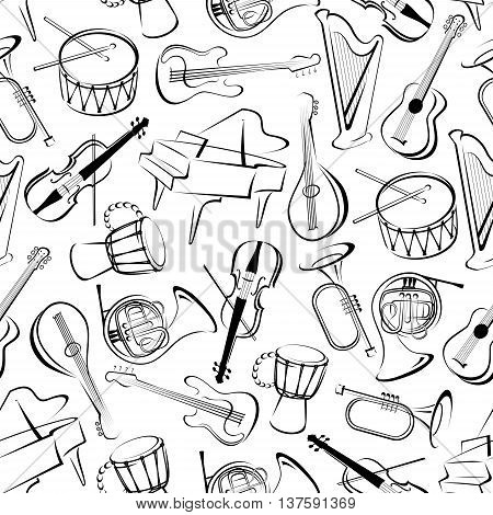 Outlined musical instruments background for musical event or orchestra themes design with black and white seamless pattern of grand pianos, drums and guitars, trumpets, horns and violins, harps and mandolins