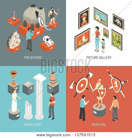 Historical museum medieval hall exhibits and picture gallery 4 isometric icons square banner abstract isolated vector illustration