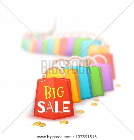 Big sale banner with color packets and coins. Vector illustration.