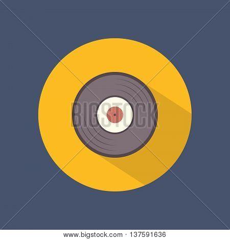 Vinyl round flat icon on dark background. Retro style. Vector illustration.