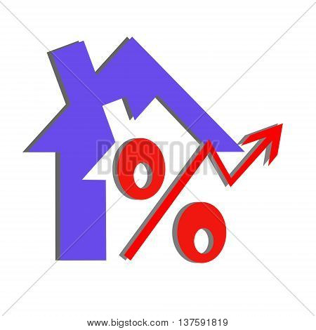 Red percent sign on the background of houses . The concept of price changes on the real estate market .