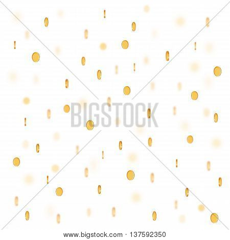 Vector rain of blured coins on white background.