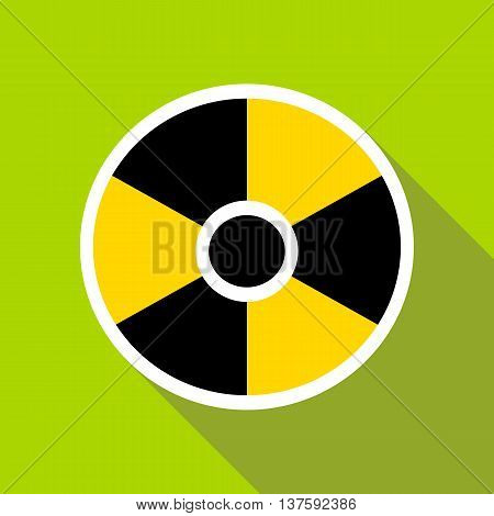 Radioactive sign icon in flat style on a green background