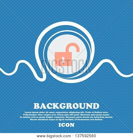 Open Lock Sign Icon. Blue And White Abstract Background Flecked With Space For Text And Your Design.