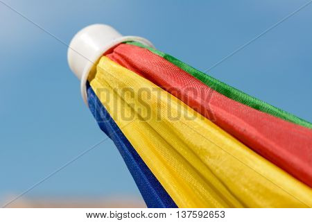 Close up from a closed colored  parasol