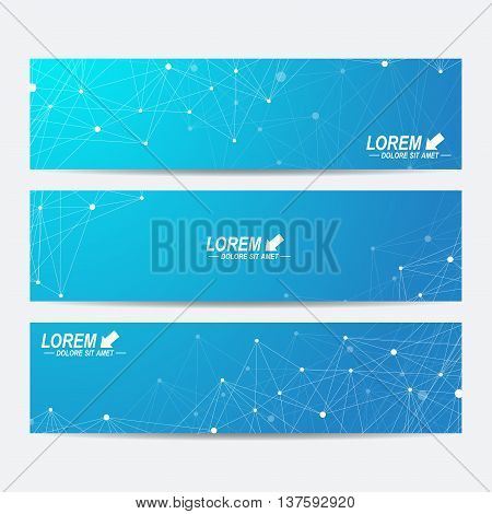 Geometric abstract banners. Molecule and communication background for website templates. Geometric abstract background with connected line and dots. Vector illustration