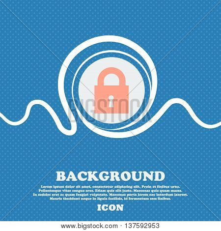 Closed Lock Sign Icon. Blue And White Abstract Background Flecked With Space For Text And Your Desig