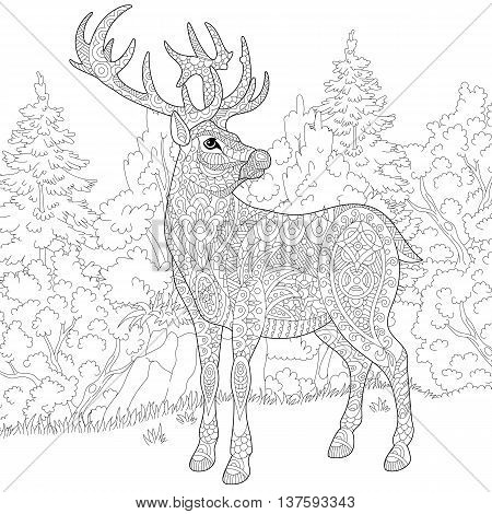 Zentangle stylized cartoon deer (stag christmas reindeer). Hand drawn sketch for adult antistress coloring book page T-shirt emblem logo or tattoo with doodle zentangle and floral design elements.