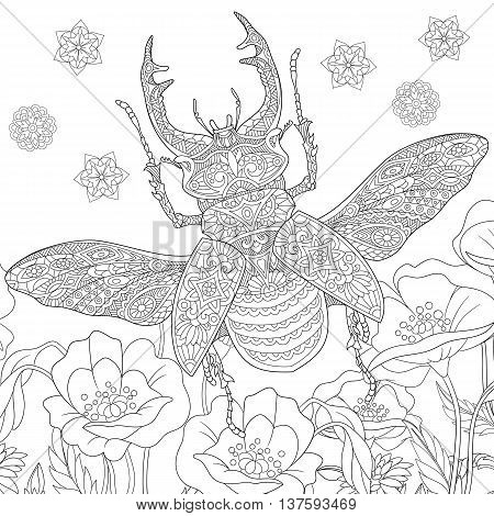 Zentangle stylized cartoon stag beetle (deer beetle Lucanus cervus). Hand drawn sketch for adult antistress coloring book page T-shirt emblem logo tattoo with doodle zentangle design elements.