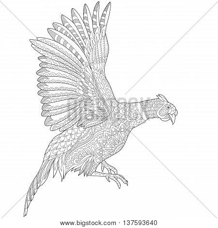 Zentangle stylized cartoon flying pheasant bird (cock hen phoenix). Hand drawn sketch for adult antistress coloring book page T-shirt emblem tattoo with doodle zentangle design elements.