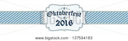 blue and white Oktoberfest banner with text Oktoberfest 2016