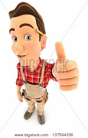 3d handyman positive pose with thumb up illustration with isolated white background