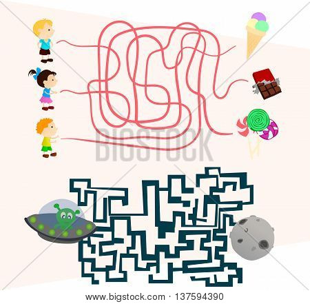 beautiful Labyrinth games set for preschoolers find the way