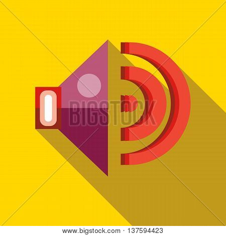 Speaker volume icon in flat style on a yellow background