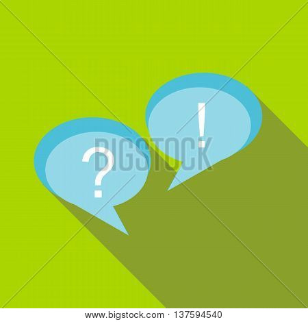 Speech bubbles with question and exclamation marks icon in flat style on a green background
