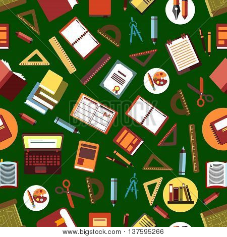 Seamless school supplies background for education and back to school concept design with flat pattern of books, laptops and copybooks, pencils, pens and rulers, paints, scissors and compasses, drawings and diploms