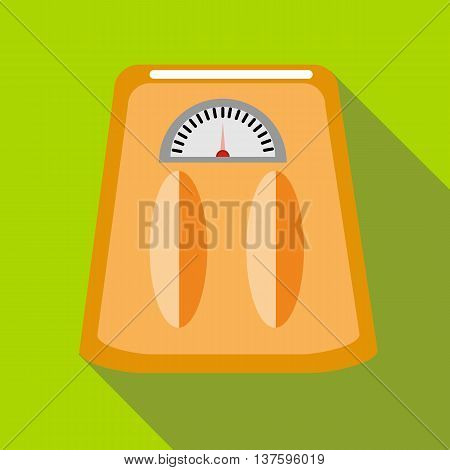 Orange floor scale icon in flat style on a green background