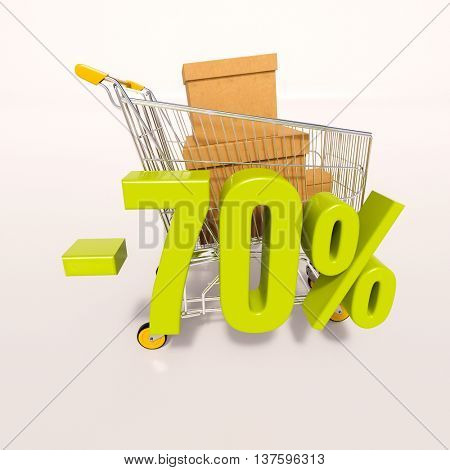 3d render: shopping cart and green 70 percentage discount sign on white