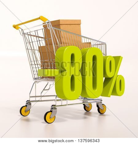 3d render: shopping cart and green 80 percentage discount sign on white