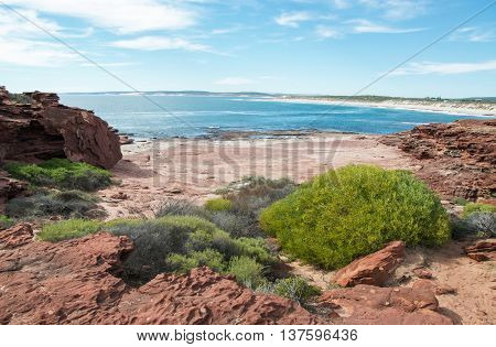 Sandstone and native flora overlooking the turquoise Indian Ocean bay on the coral coast at Red Bluff beach in Kalbarri, Western Australia.