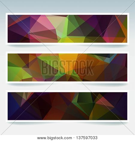 Set Of Banner Templates With Abstract Background. Modern Vector Banners With Polygonal Background. D