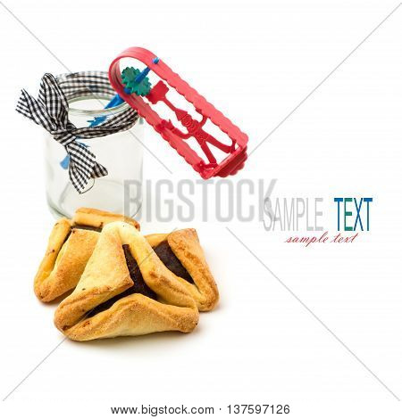 Hamantaschen cookies and grogger forJewish festival of Purim