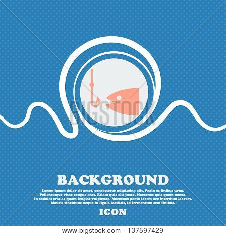 Fishing Sign Icon. Blue And White Abstract Background Flecked With Space For Text And Your Design. V