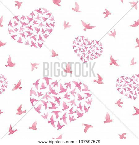 Pastel pink hearts with flying birds. Girly repeated pattern. Watercolor