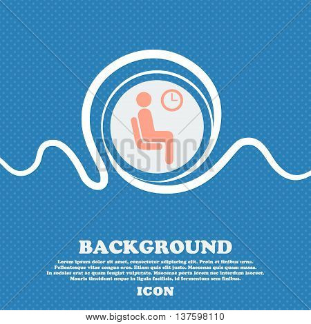 Waiting Sign Icon. Blue And White Abstract Background Flecked With Space For Text And Your Design. V