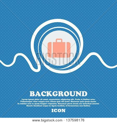 Suitcase Sign Icon. Blue And White Abstract Background Flecked With Space For Text And Your Design.