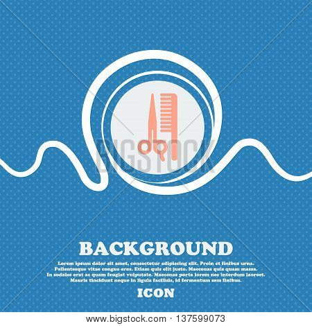 Hair Sign Icon. Blue And White Abstract Background Flecked With Space For Text And Your Design. Vect