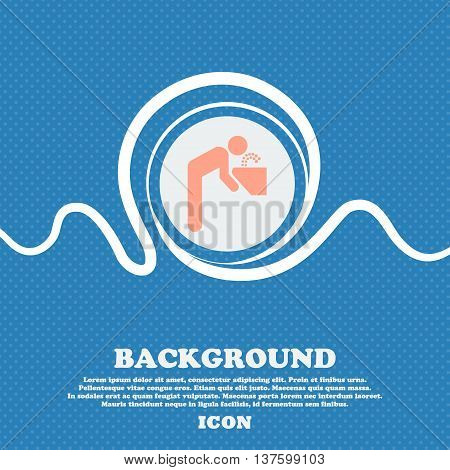 Drinking Fountain Sign Icon. Blue And White Abstract Background Flecked With Space For Text And Your
