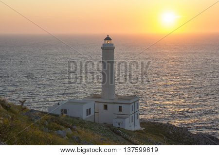 Sunrise on the Lighthouse of Cape Palascia the easternmost point of Italy