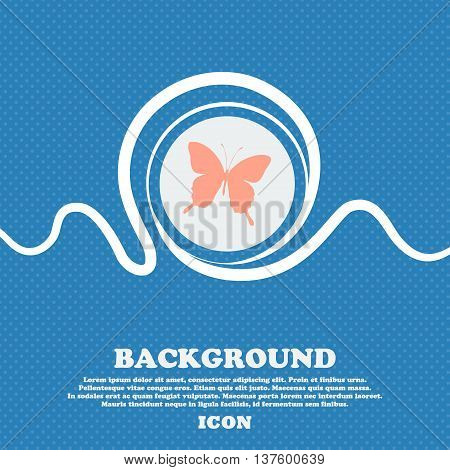 Butterfly Sign Icon. Blue And White Abstract Background Flecked With Space For Text And Your Design.