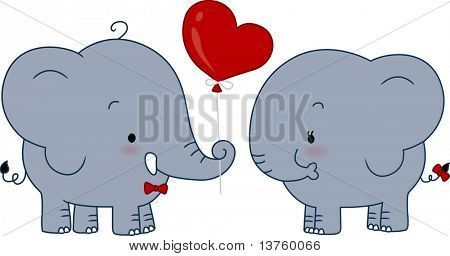 Illustration of a Male Elephant Giving a Balloon to a Female Elephant
